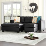 Rutkowski 83 Wide Faux Leather Right Hand Facing Sofa & Chaise with Ottoman by Ebern Designs