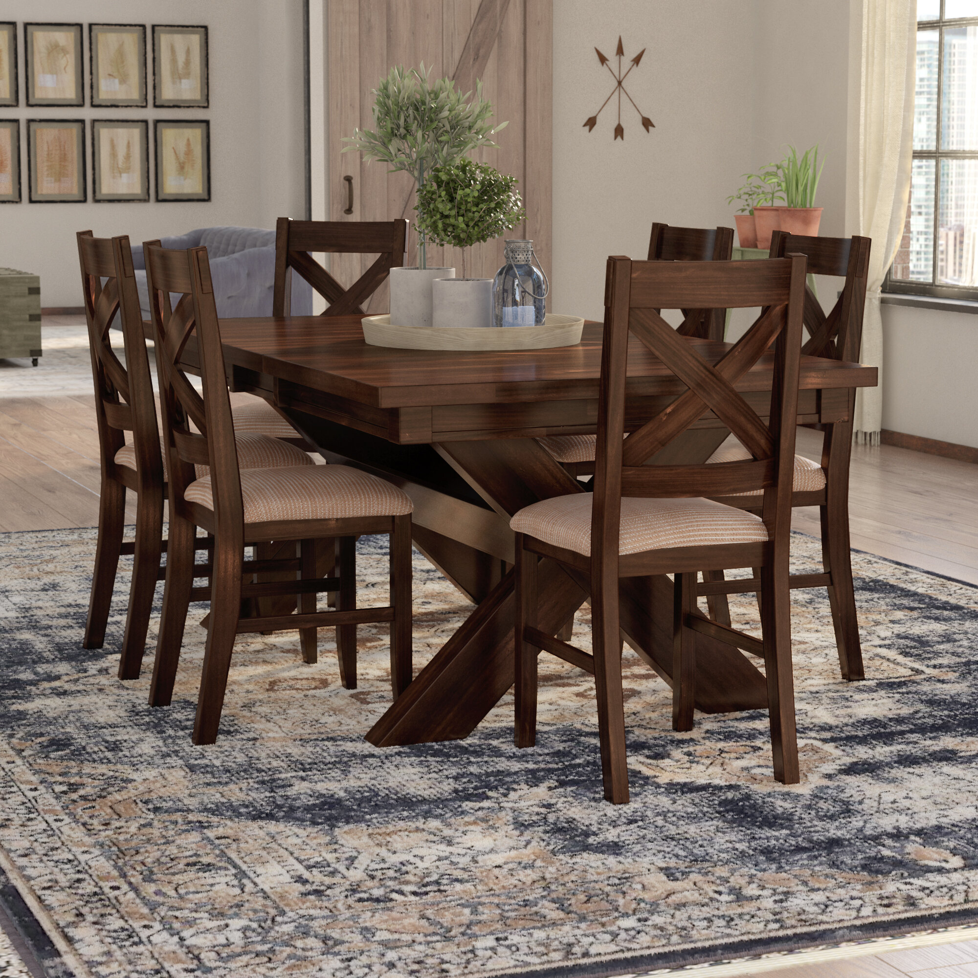 Wayfair Laurel Foundry Modern Farmhouse Isabell 7 Piece Solid Wood Dining Set
