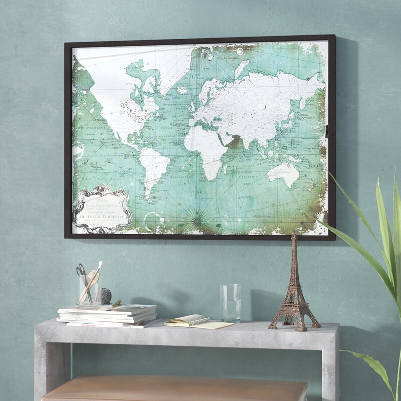 Antiqued World Map Framed Graphic Art Print