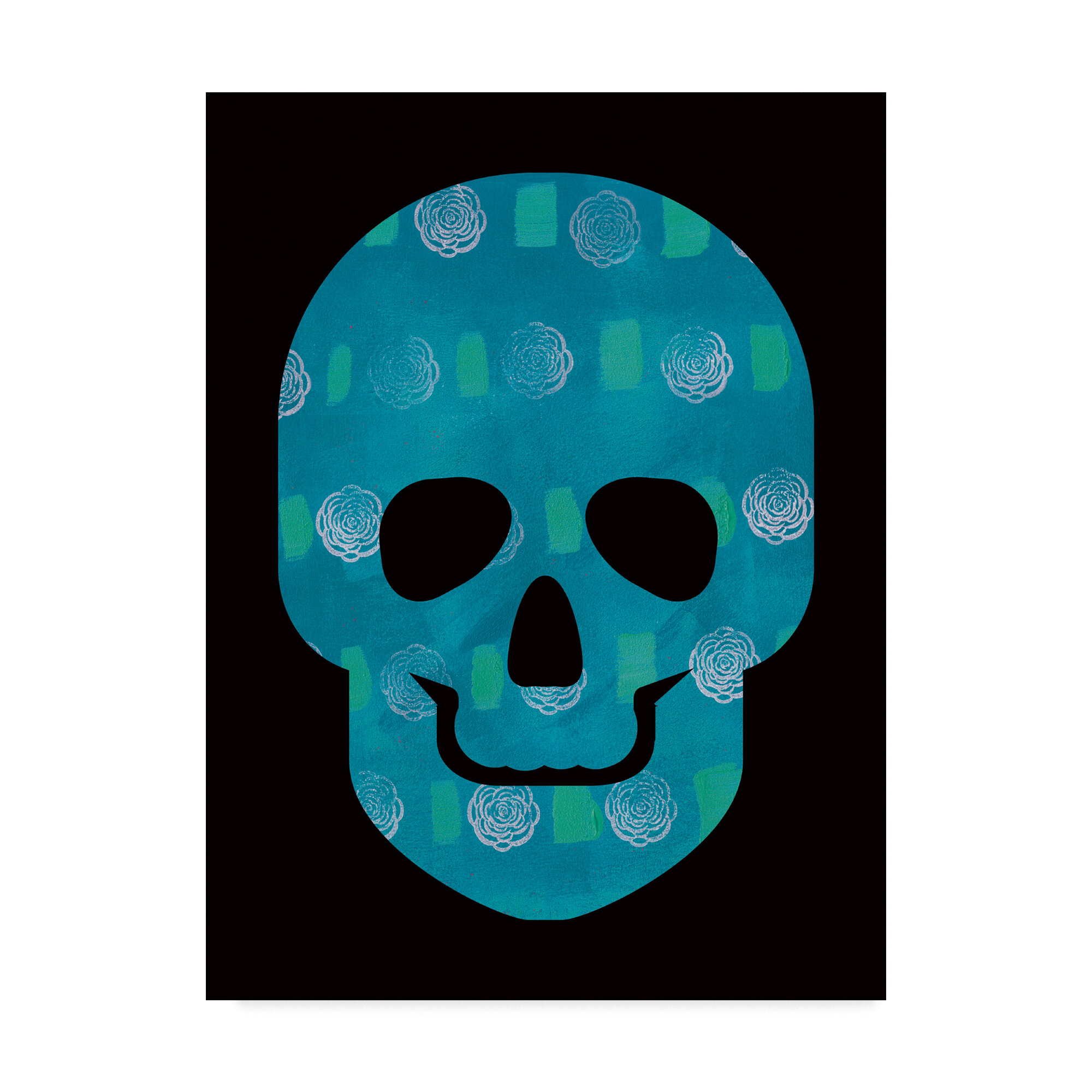 Trademark Art \'Blue Skull\' Watercolor Painting Print on Wrapped ...