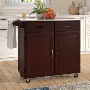 Southerland Large Kitchen Cart with Stainless Steel Top Andover Mills