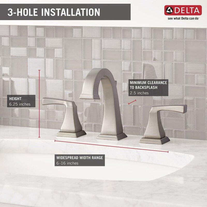 Bathroom Faucet Height delta dryden widespread bathroom faucet with double lever handles