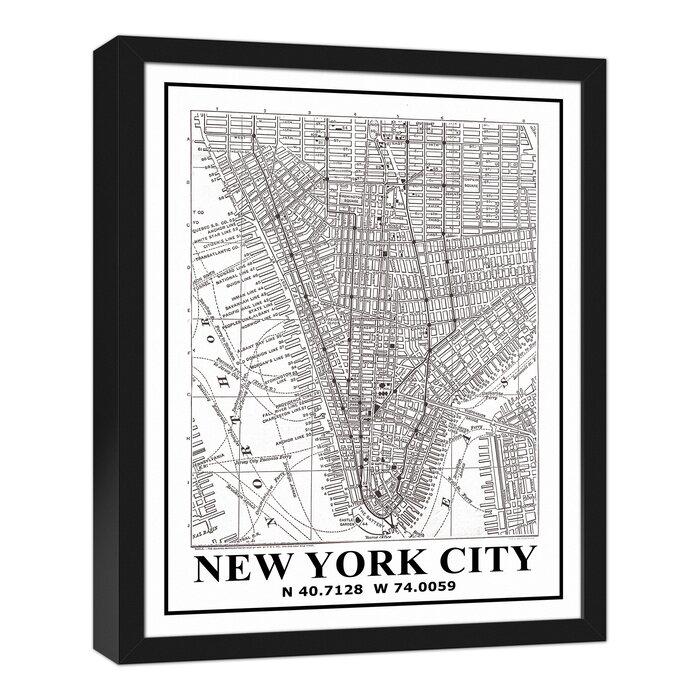 Williston Forge New York City Map Framed Graphic Art Print On