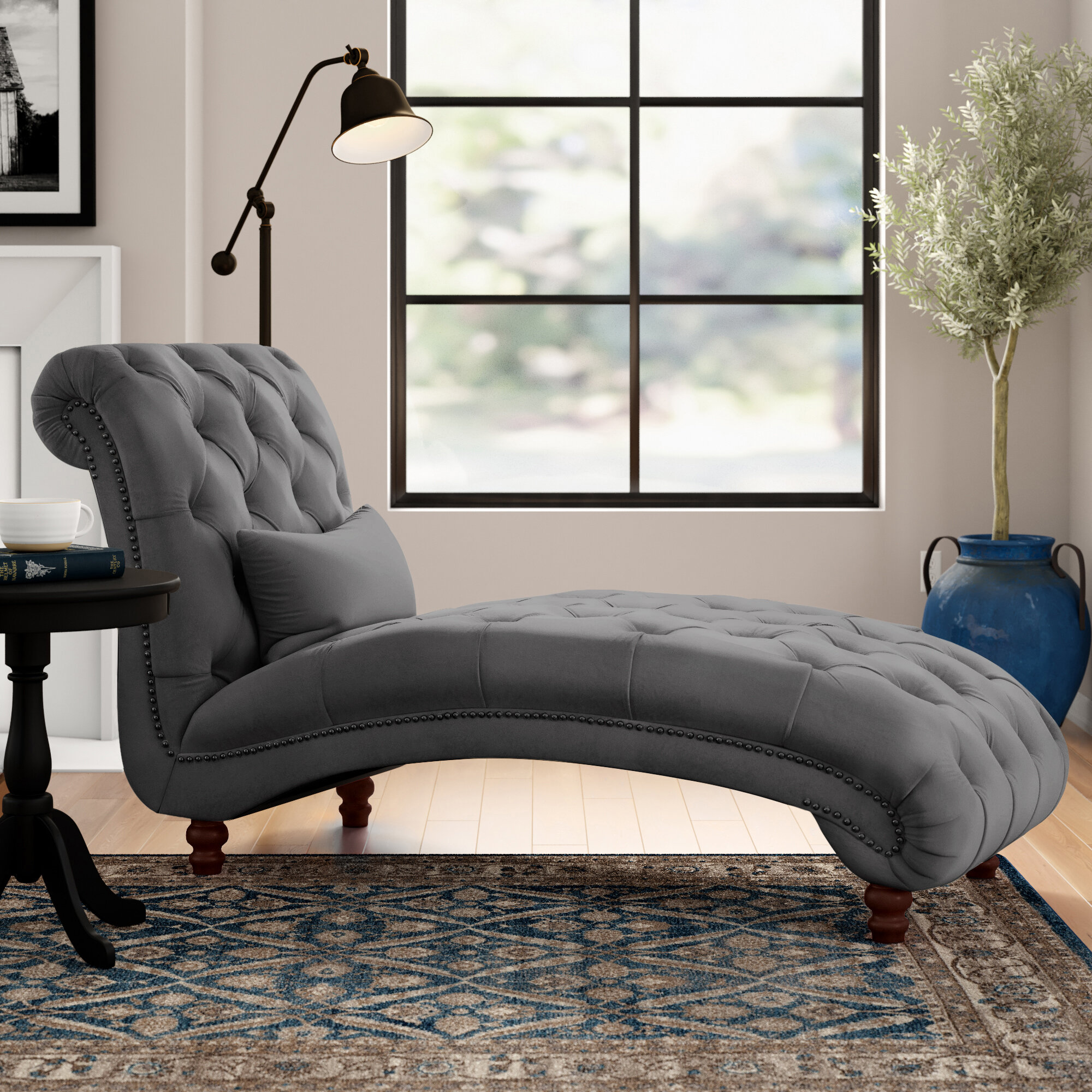 Three Posts Huskins Tufted Chaise Lounge Reviews Wayfair