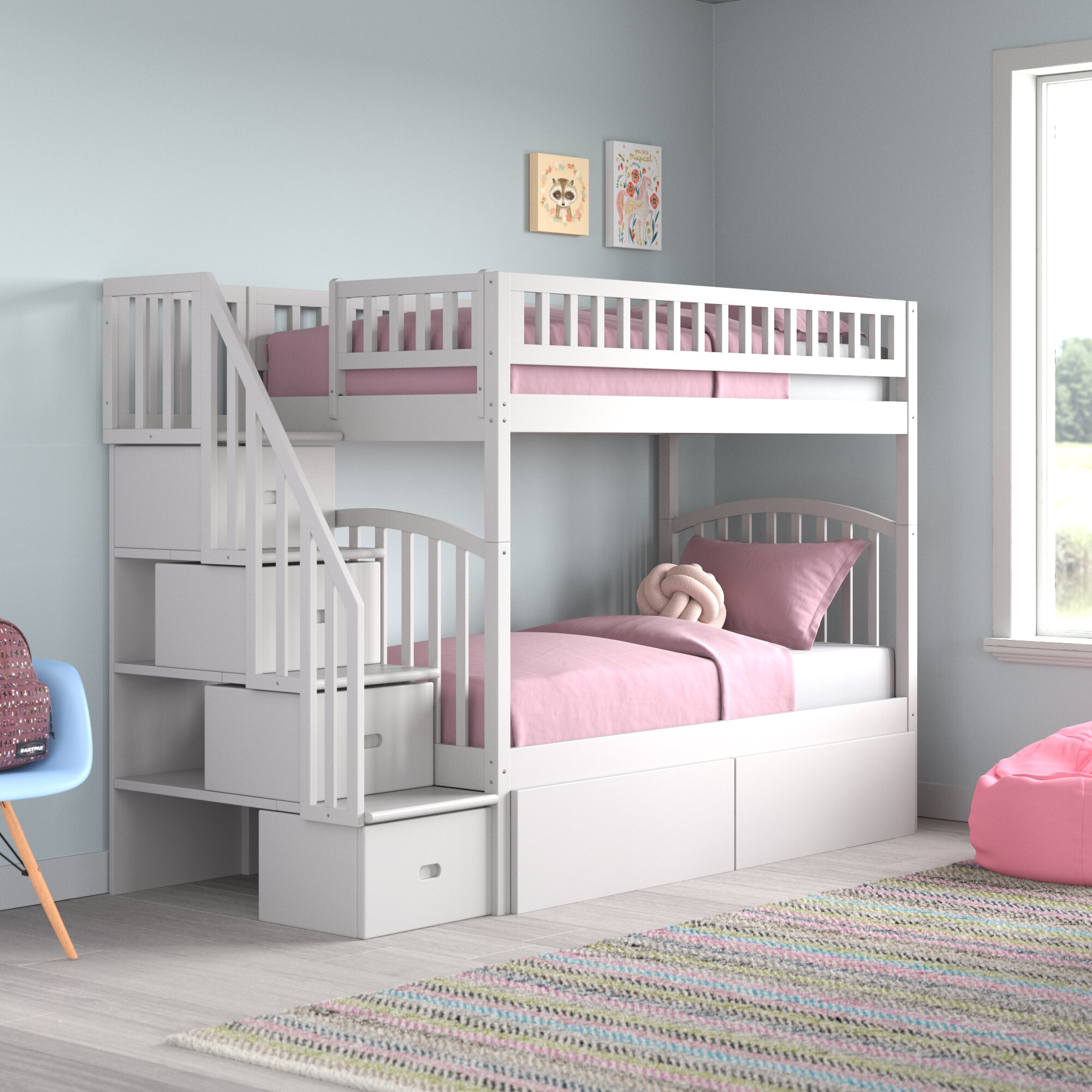 Picture of: Harriet Bee Salem Staircase Twin Over Twin Bunk Bed With Drawers Reviews