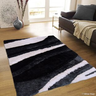 Price comparison Hand-Tufted Black/White Area Rug By AllStar Rugs