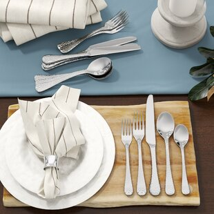 André 20-Piece Hammered Flatware Set, Service for 1