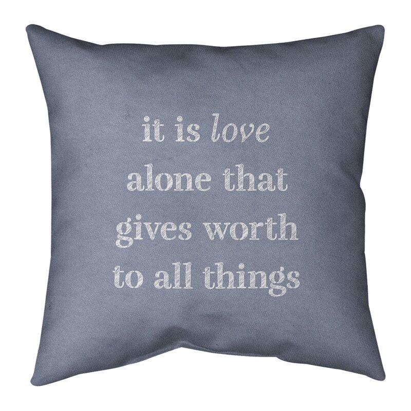 East Urban Home Handwritten Love Inspirational Quote Pillow W Removable Insert Spun Polyester Wayfair