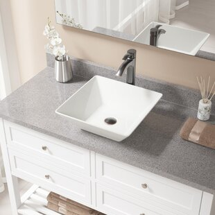 Affordable Vitreous China Square Vessel Bathroom Sink with Faucet By MR Direct