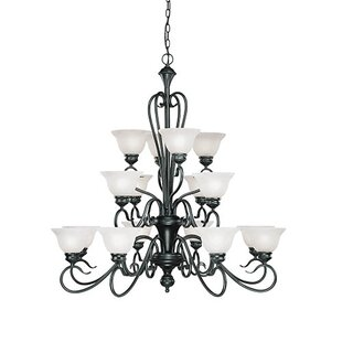 Fleur De Lis Living Birchview 16-Light Shaded Chandelier