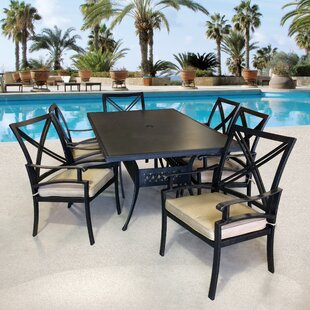 Aube 7 Piece Sunbrella Dining Set with Sunbrella Cushions by Canora Grey