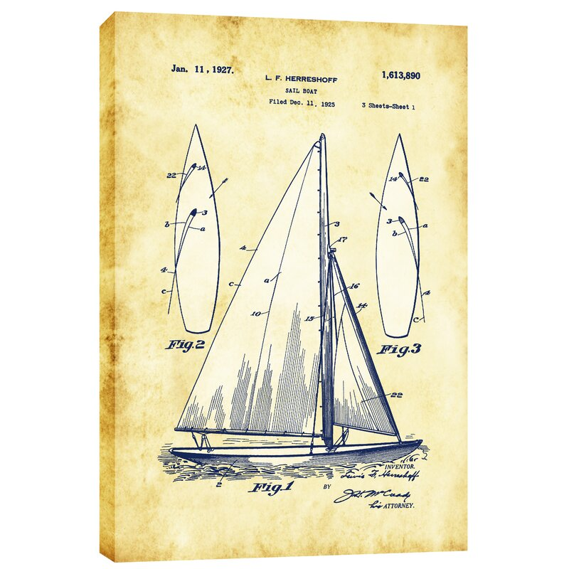 Epic graffiti sailboat vintage patent blueprint graphic art on sailboat vintage patent blueprint graphic art on wrapped canvas malvernweather Gallery