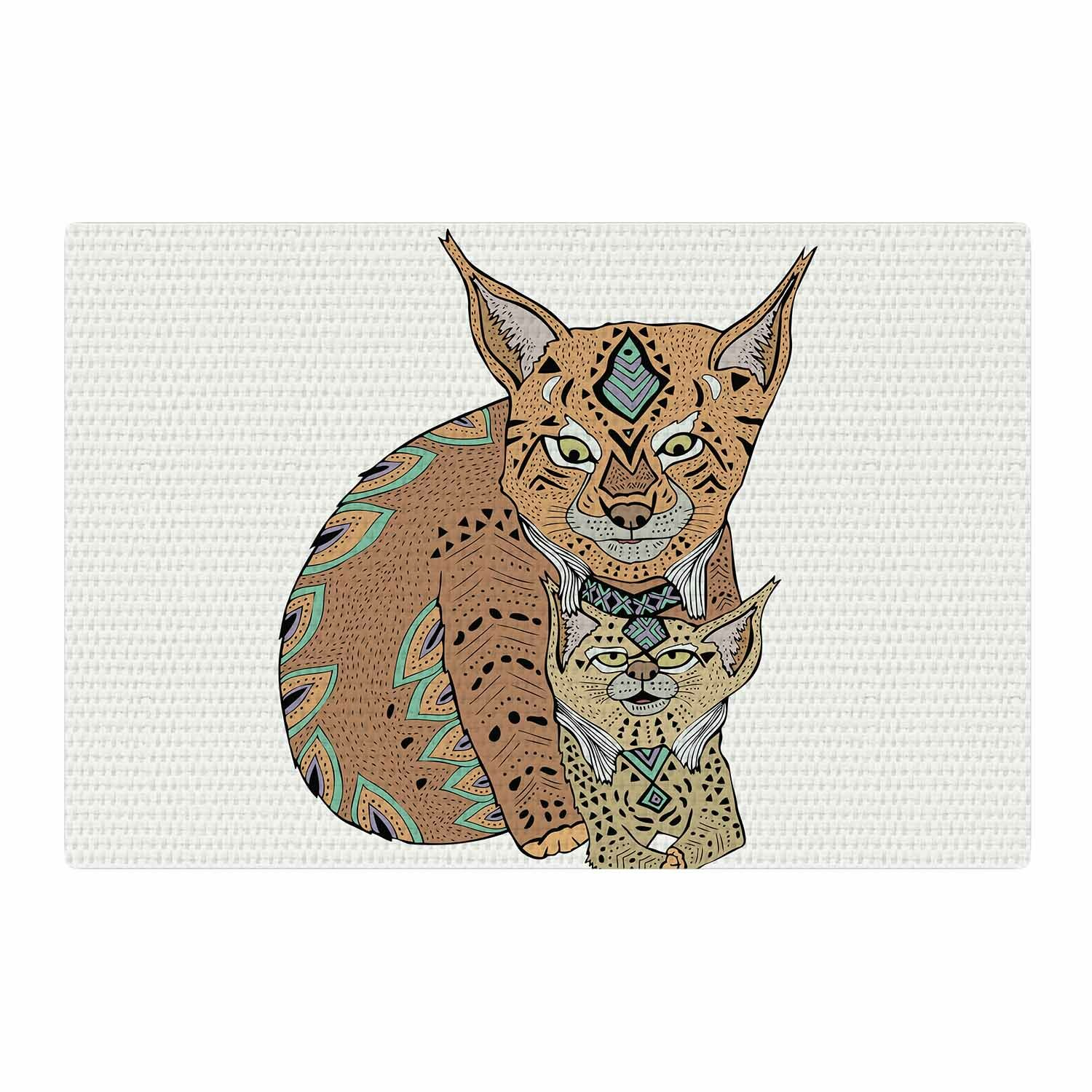 East Urban Home Pom Graphic Design Mama And Baby Lynx Teal
