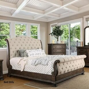 Vincenzo King Solid Wood and Upholstered Tufted Sleigh Bed by Astoria Grand