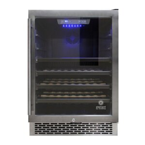 53 Bottle Stainless Steel Single Zone Built-In Wine Cooler by Vinotemp