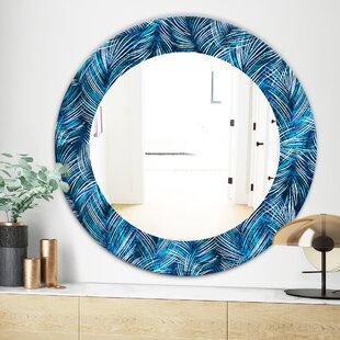 Tropical Palm Leaves Bohemian Eclectic Wall Mirror