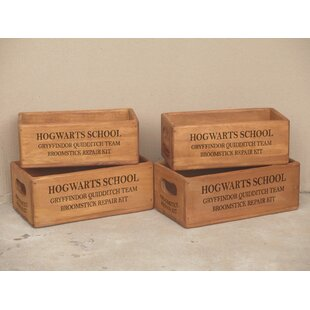 Roucourt Gryffindor Solid Wood 4 Piece Organiser Box Set By Brambly Cottage
