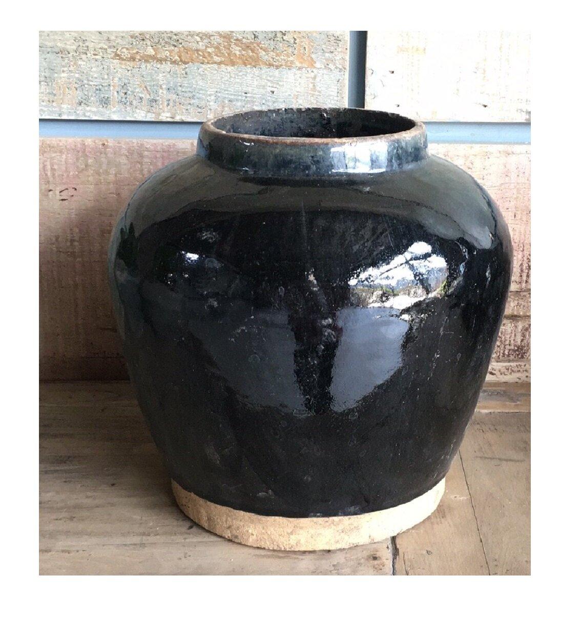 Bloomsbury Market Adriyel Black 12 Indoor Outdoor Ceramic Table Vase Wayfair