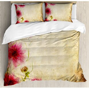 East Urban Home Retro Flowers on Old Grunge Paper Background Nostalgic Background Bouquet Print Duvet Set