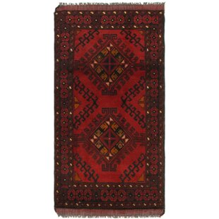 One-of-a-Kind Auxvasse Hand-Knotted 1'9 x 3'5 Wool Red/Black Area Rug Isabelline