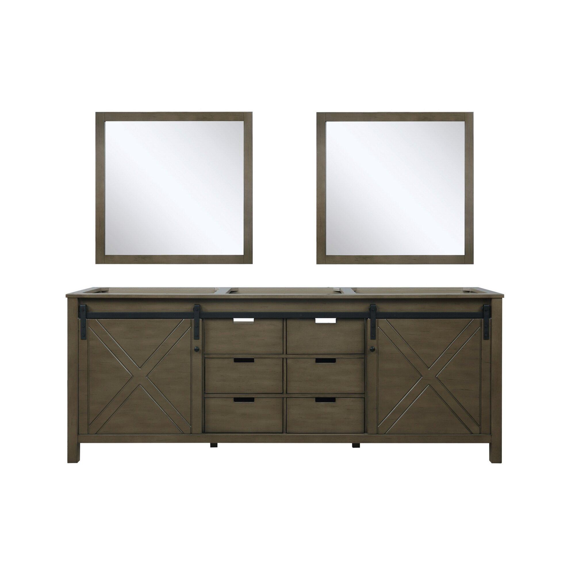 Gracie Oaks Schmidt 84 Double Bathroom Vanity Base Only With Mirror Wayfair
