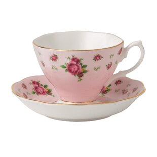 New Country Roses Formal Vintage Teacup and Saucer