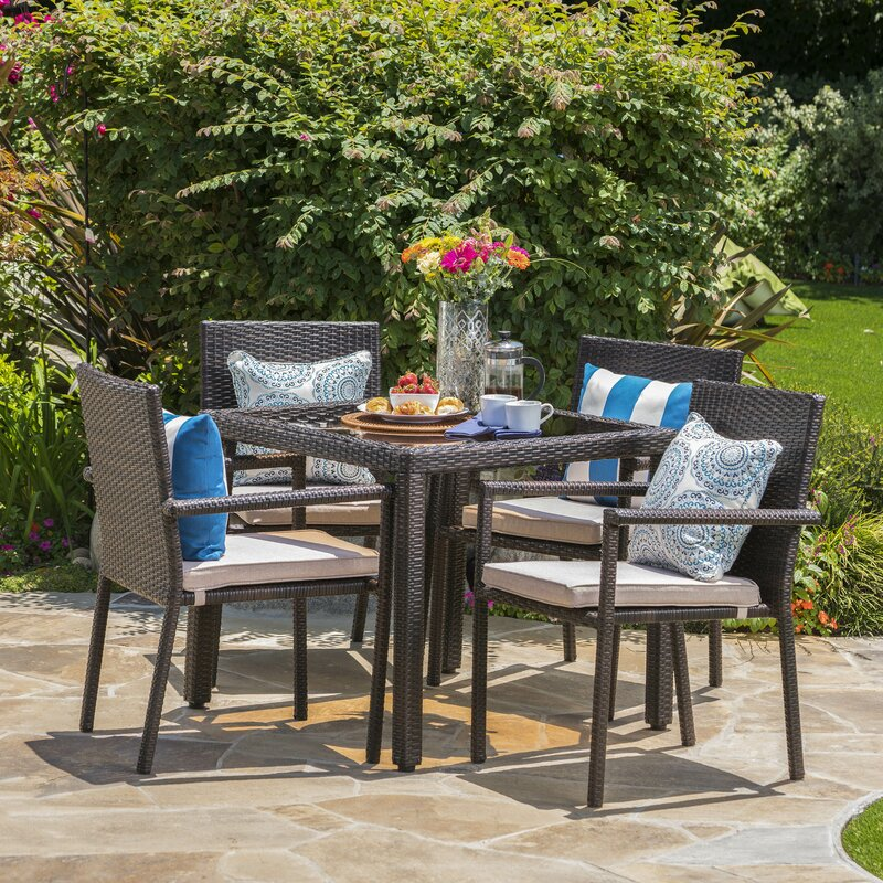 Zipcode Design  Brooklet 5 Piece Dining Set with Cushions