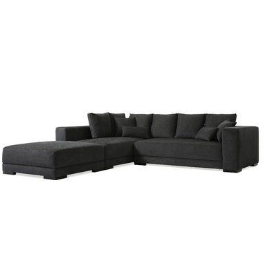 Brayden Studio Douglas Sectional with Ottoman Upholstery: Charcoal Blue