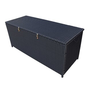 Indoor and Outdoor 113 Gallon Wicker Deck Box