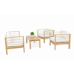 Rosecliff Heights Bendel 4 Piece Teak Sunbrella Sofa Set with Cushions