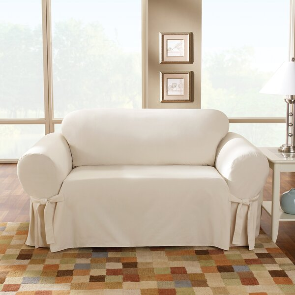 Sure Fit Cotton Duck Sofa Skirted Slipcover Reviews Wayfair