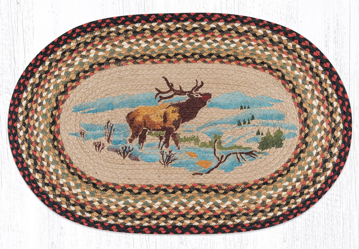 Winter Elk Printed Area Rug