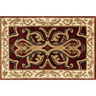 Bridgette Classical Beige/Burgundy Indoor/Outdoor Area Rug