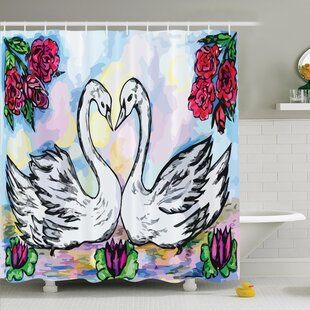 Floral Two White Swans in Lake Shower Curtain Set