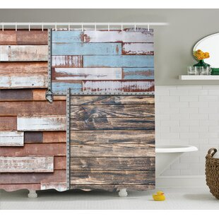 Chantelle Rustic and Farm Themed Old Wooden Detailed Modern Design With Screws Art Single Shower Curtain