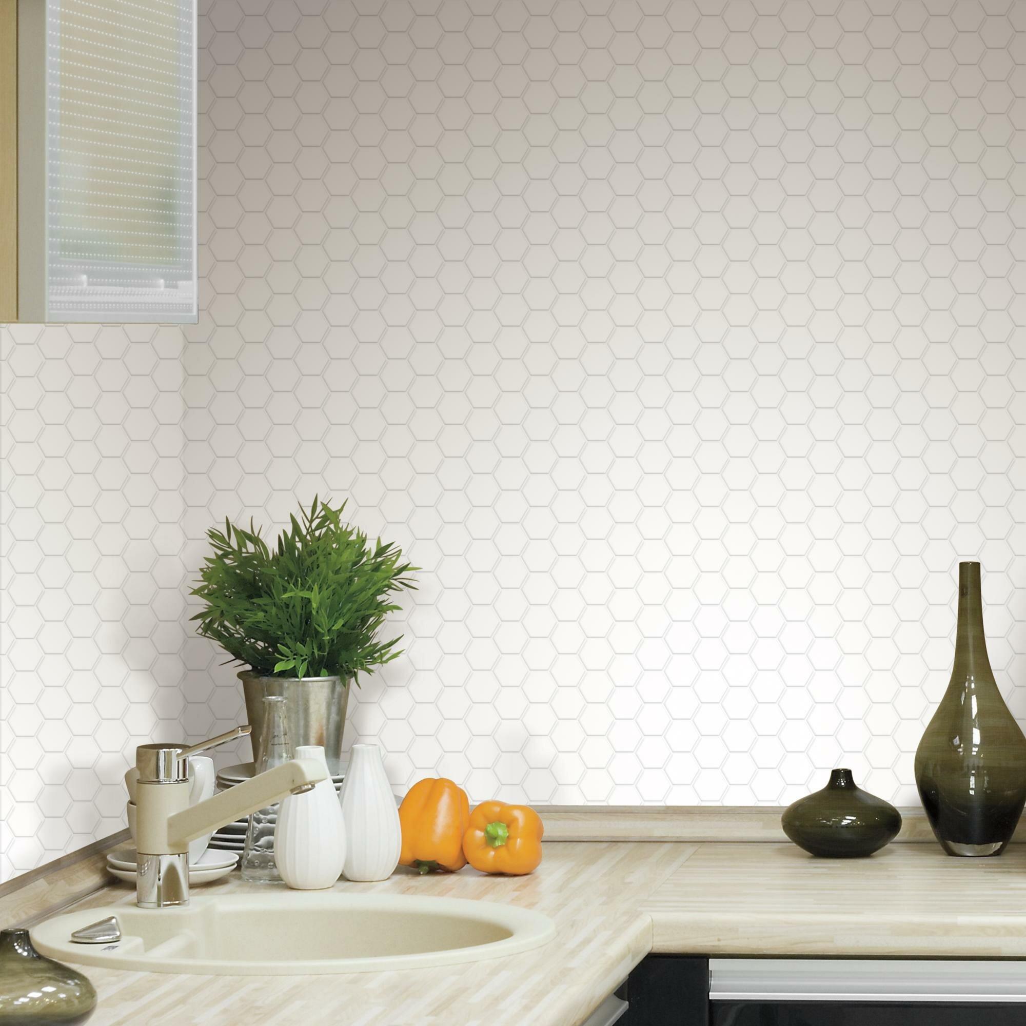 "- Room Mates Hexagon 10.5"" X 10.5"" PVC Peel & Stick Mosaic Tile In"