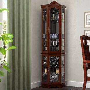 Erastus Lighted Corner Curio Cabinet