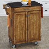Delana Granite Top Kitchen Cart by Charlton Home®