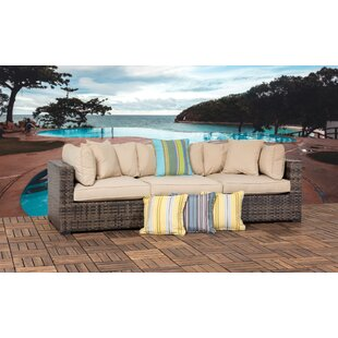 Hathaway Outdoor 3 Piece Wicker Sectional Seating Group with Cushions