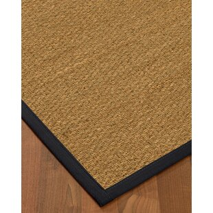 Anya Border Hand-Woven Beige/Midnight Blue Area Rug by Longshore Tides