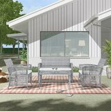 Pat 4 Piece Rattan Sofa Seating Group with Cushions by Bayou Breeze