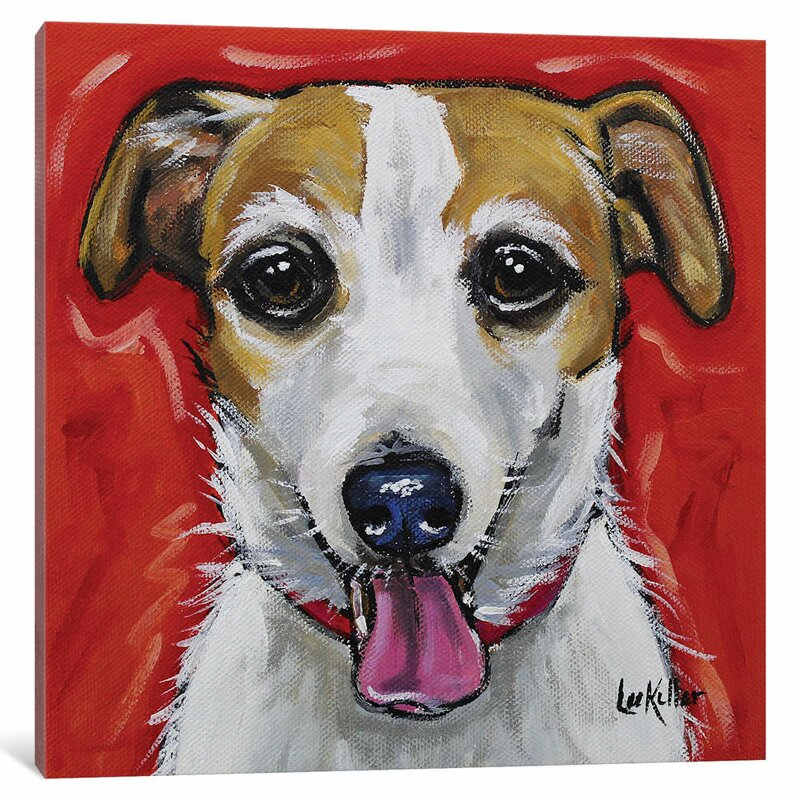 East Urban Home Hippie Hound Studios Jack Russell Ginny Print On Wrapped Canvas Wayfair