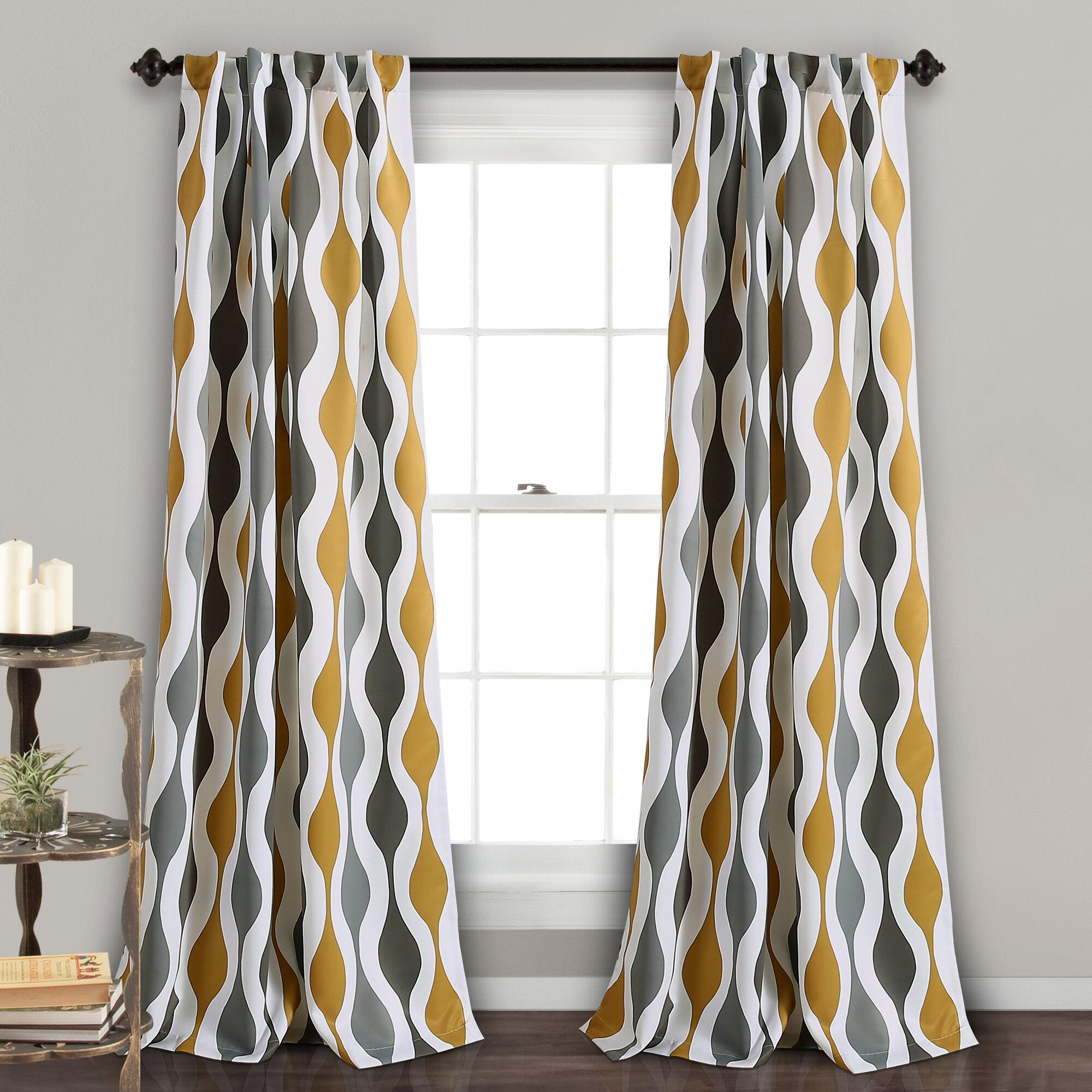 Corrigan Studio Geometric Room Darkening Thermal Back Tab Rod Pocket Curtain Panels Reviews Wayfair