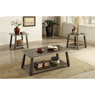 Gracie Oaks Calanthe Wooden 3 Piece Coffee Table Set