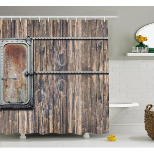 Marion Rustic Wooden Tree Planks With Old Little Rusty Metal Boat Marine Door Print Single Shower Curtain by Williston Forge Fresh
