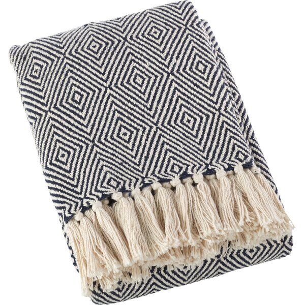 Navy Blue Mayer Diamond Weave Soft Cotton Throw by Joss & Main