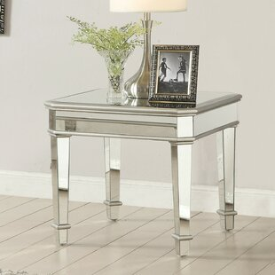 Inexpensive Lundeen Square Mirrored End Table by Rosdorf Park