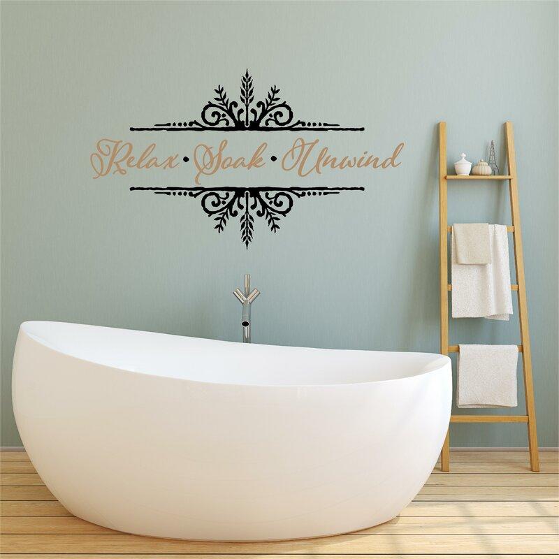 Relax Soak Unwind Vinyl Letter Word Bathroom Wall Decal