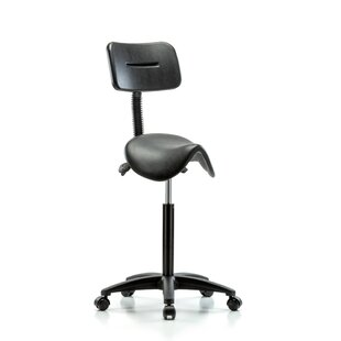 Height Adjustable Saddle Stool with Back