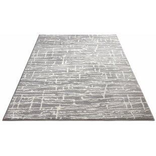 Great deal Honaye Modern Geo Lines Gray/White Area Rug ByBloomsbury Market